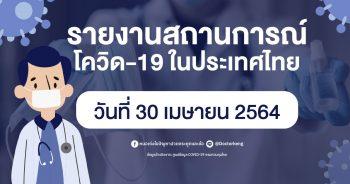 รายงานสถานการณ์ โควิด-19 ในประเทศไทย วันที่ 30 เมษายน 2564
