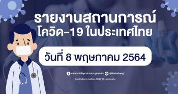รายงานสถานการณ์ โควิด-19 ในประเทศไทย วันที่ 8 พฤษภาคม 2564